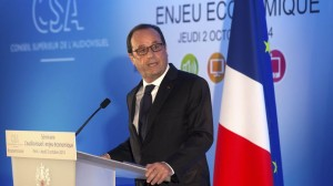 "French President Francois Hollande delivers the closing speech at the seminar ""Audiovisual, economic force"" organised by France's audiovisual regulatory body, the CSA, in Paris"